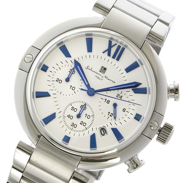 サルバトーレマーラ クロノ クオーツ メンズ 腕時計 時計 SM17106-SSWH ホワイト/ブルー
