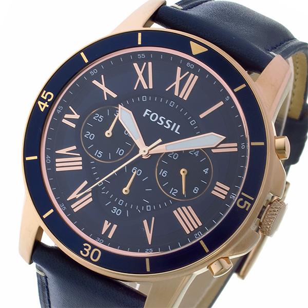 フォッシル FOSSIL クロノ クオーツ メンズ 腕時計 時計 FS5237 ネイビー/ピンクゴールド