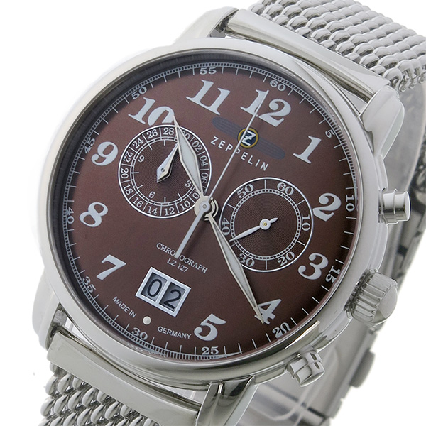 ツェッペリン ZEPPELIN クロノ クオーツ メンズ 腕時計 時計 7684M-3 ブラウン