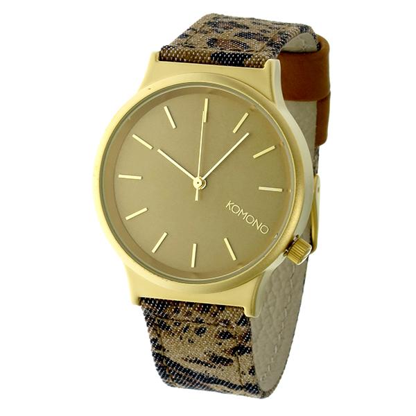 コモノ KOMONO Wizard Print-Leopard クオーツ レディース 腕時計 時計 KOM-W1802 ゴールド【ポイント10倍】【楽ギフ_包装】【inte_D1806】