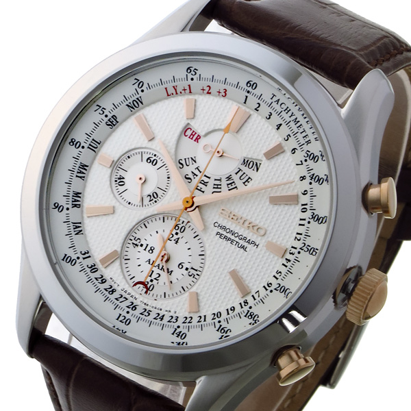 セイコー SEIKO クロノ クオーツ メンズ 腕時計 時計 SPC129P1 ホワイト