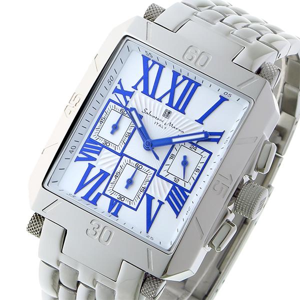 サルバトーレマーラ クロノグラフ クオーツ メンズ 腕時計 時計 SM17117-SSWHBL ホワイト/ブルー