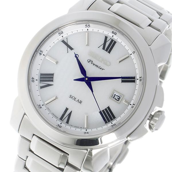 セイコー SEIKO プルミエ Premier ソーラー クオーツ メンズ 腕時計 時計 SNE453P1 ホワイト