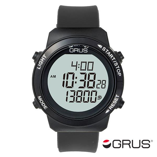 グルス GRUS 歩幅計測機能付 ウォーキングウォッチ GRS001-02 ブラック