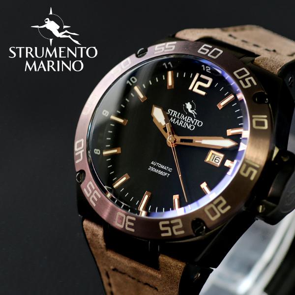 ストルメントマリーノ STRUMENTO MARINO ディフェンダー ダイバーズ 自動巻き メンズ 腕時計 時計 SM104-L-BK-NR-MR ブラック