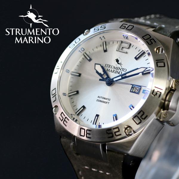 ストルメントマリーノ STRUMENTO MARINO ディフェンダー ダイバーズ 自動巻き メンズ 腕時計 時計 SM104-L-SS-BN-BL シルバー
