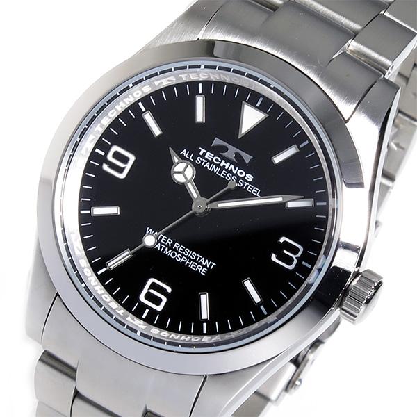 テクノス TECHNOS クオーツ メンズ 腕時計 時計 TSM208SB ブラック