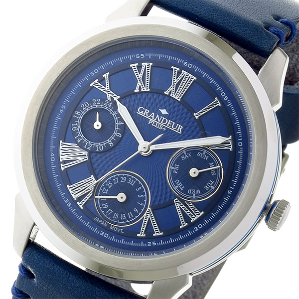 グランドール GRANDEUR プラス PLUS クオーツ メンズ 腕時計 時計 GRP004W2 ブルー
