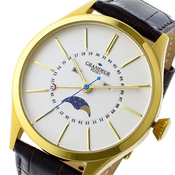 グランドール GRANDEUR プラス PLUS クオーツ メンズ 腕時計 時計 GRP011G1 ホワイト/ゴールド