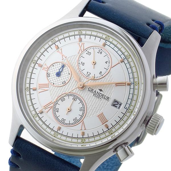 グランドール GRANDEUR プラス PLUS クロノ クオーツ メンズ 腕時計 時計 GRP012W1 ホワイト