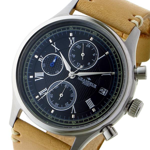グランドール GRANDEUR プラス PLUS クロノ クオーツ メンズ 腕時計 時計 GRP012W2 ブラック