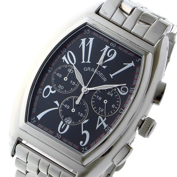 グランドール GRANDEUR 日本製 made in japan クロノ クオーツ メンズ 腕時計 時計 JGR003W2 ブラック