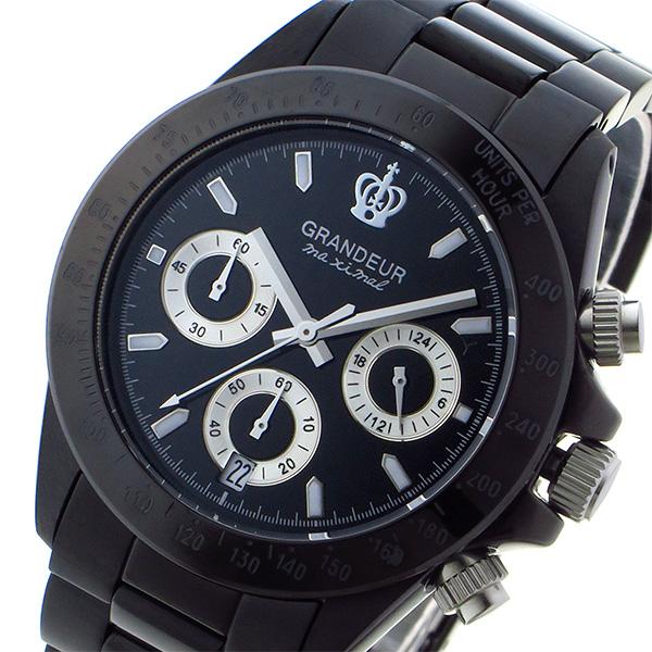 グランドール GRANDEUR 日本製 made in japan クロノ クオーツ メンズ 腕時計 時計 JGR005W1 ブラック/シルバー