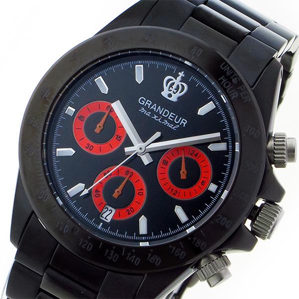 グランドール GRANDEUR 日本製 made in japan クロノ クオーツ メンズ 腕時計 時計 JGR005W2 ブラック/レッド