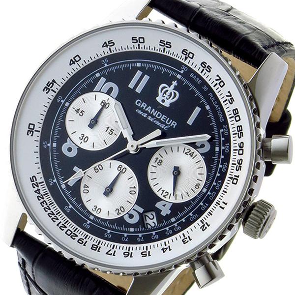 グランドール GRANDEUR 日本製 made in japan クロノ クオーツ メンズ 腕時計 時計 JOSC028W1 ブラック