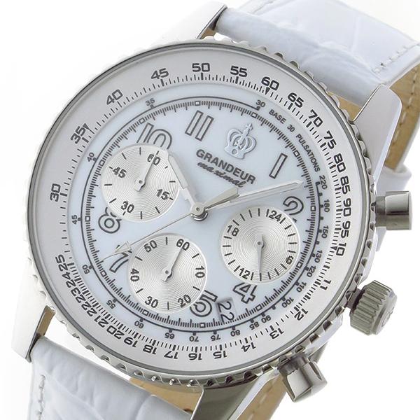 グランドール GRANDEUR 日本製 made in japan クロノ クオーツ メンズ 腕時計 時計 JOSC028W4 ホワイト