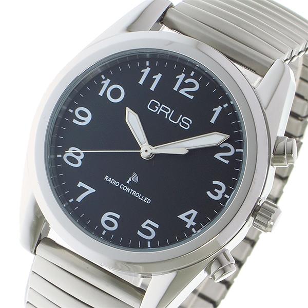 グルス GRUS ボイス電波腕時計 時計 トーキングウォッチ クオーツ GRS003-02 ブラック/シルバー