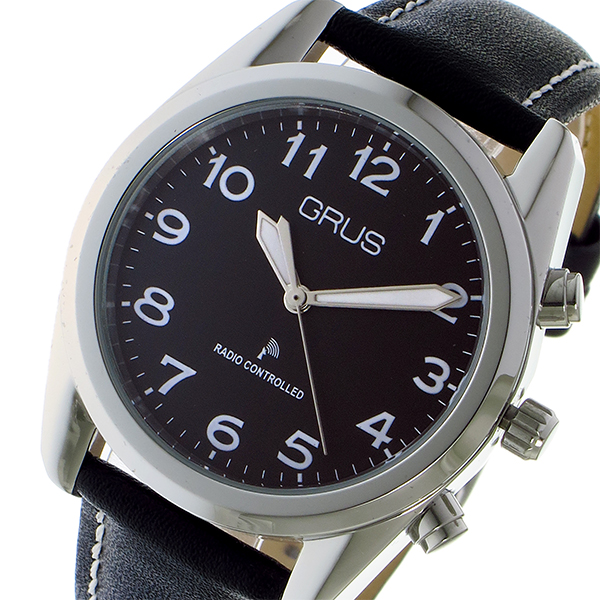 グルス GRUS ボイス電波腕時計 時計 トーキングウォッチ クオーツ 腕時計 時計 GRS003-03 ブラック/シルバー