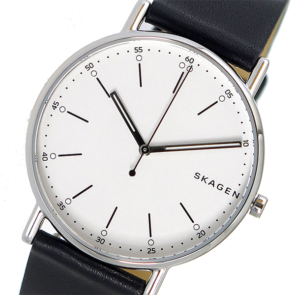SKW6353時計 レザー 【楽天スーパーSALE】 SKAGEN メンズブラック 腕時計 スカーゲン ホワイト