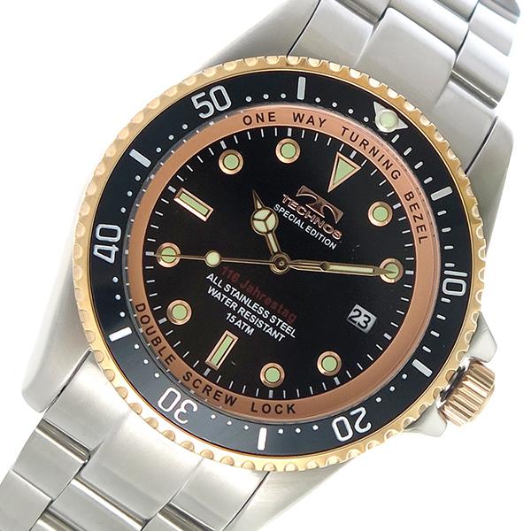 テクノス TECHNOS クオーツ メンズ 腕時計 時計 T4467SH ブラック