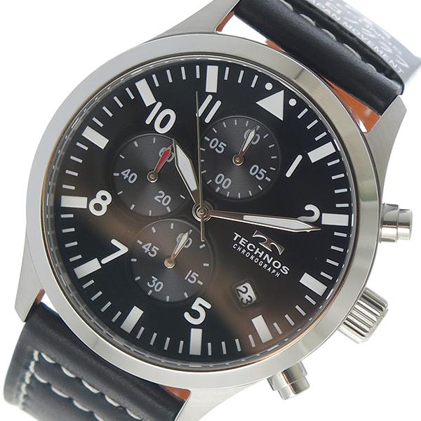 テクノス TECHNOS クロノ クオーツ メンズ 腕時計 時計 T4553SB ブラック