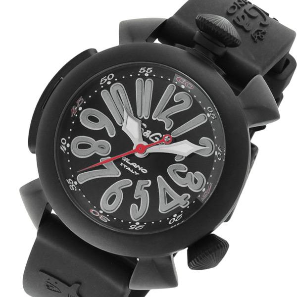 ガガ ミラノ ダイビング 48mm 自動巻き メンズ 腕時計 5042-BLKRUBBER ブラック【送料無料】