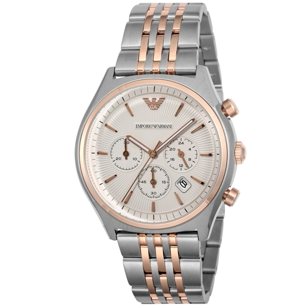 エンポリオ アルマーニ EMPORIO ARMANI クロノ クオーツ メンズ 腕時計 時計 AR1998 シルバー
