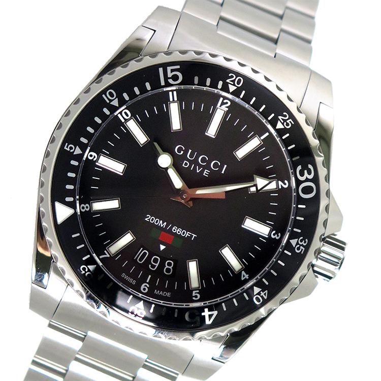 グッチ GUCCI ダイヴ DIVE クオーツ メンズ 腕時計 YA136301 ブラック【送料無料】