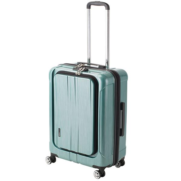 アクタス ACTUS フロントオープン ポライト 中型 Lサイズ 60L スーツケース 74-20357 グリーン 【代引き不可】