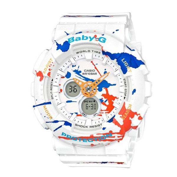 カシオ CASIO ベビーG スクラッターパターン アナデジ クオーツ レディース クロノ 腕時計 時計 BA-120SPL-7A ホワイト