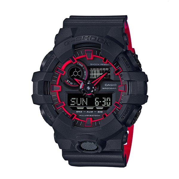 カシオ CASIO Gショック G-SHOCK アナデジコンビ ネオンカラー アナデジ クオーツ メンズ クロノ 腕時計 時計 GA-700SE-1A4 ブラック