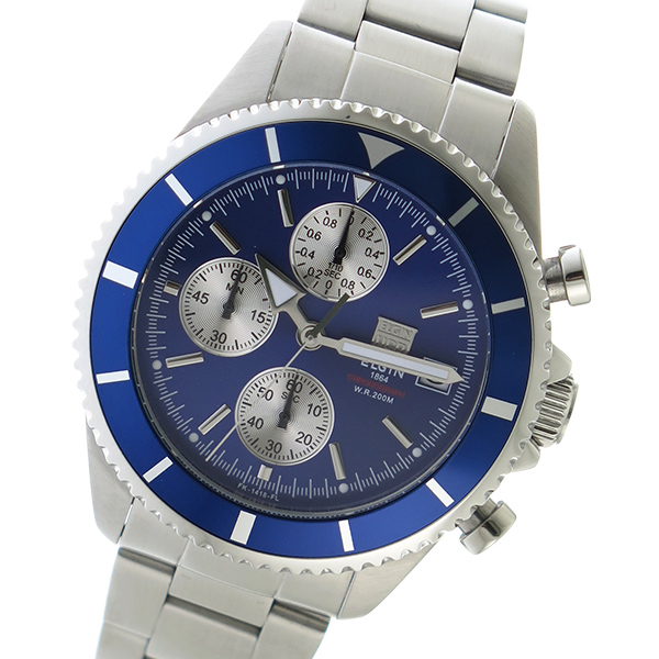 エルジン ELGIN クロノ クオーツ メンズ 腕時計 時計 FK1418S-BL ブルー