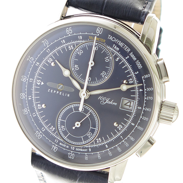 ツェッペリン ZEPPELIN LZ1 100周年記念モデル クロノ クオーツ メンズ 腕時計 時計 8670-3 ネイビー