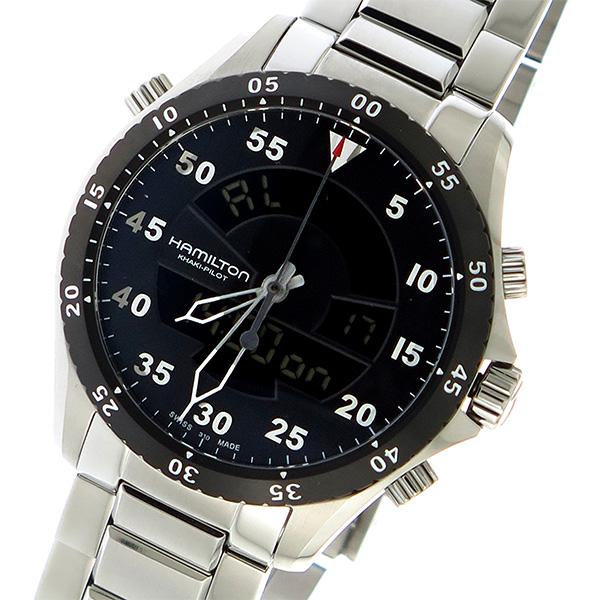 ハミルトン HAMILTON カーキ KHAKI パイロット フライトタイマー クオーツ メンズ 腕時計 H64554131 ブラック【送料無料】