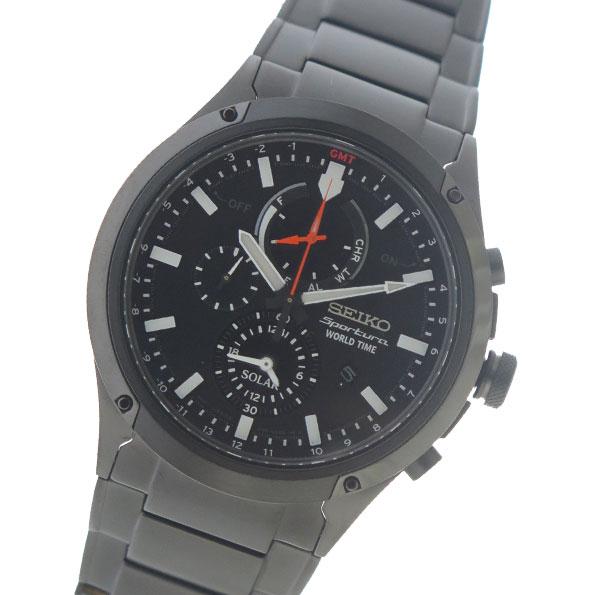 セイコー SEIKO スポーチュラ ソーラー SPORTURA SOLAR クロノ クオーツ メンズ 腕時計 SSC481P1 ブラック【送料無料】