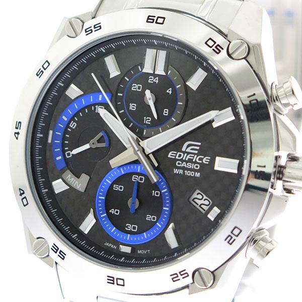カシオ CASIO エディフィス EDIFICE クロノ クオーツ メンズ 腕時計 時計 EFR-557CD-1A ブラック×ブルー/シルバー
