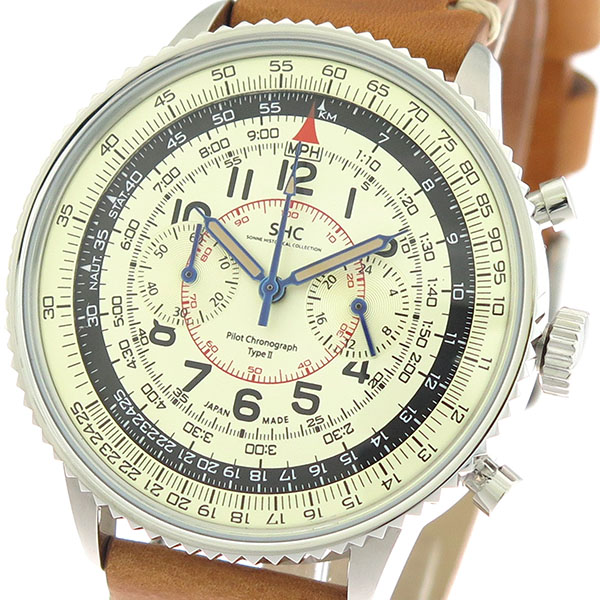 ゾンネ SONNE パイロットクロノグラフタイプ クオーツ メンズ 腕時計 時計 HI004BK-IV アイボリー/ブラウン
