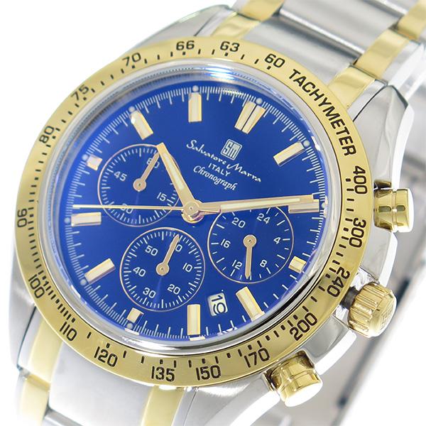 サルバトーレマーラ SALVATORE MARRA 腕時計 時計 メンズ SM18106-SSBLGD カラーガラス ブルー シルバー