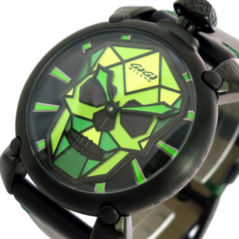 ガガミラノ GAGA MILANO 腕時計 メンズ 506203S 自動巻き ブラック×ライトグリーン ブラック【送料無料】