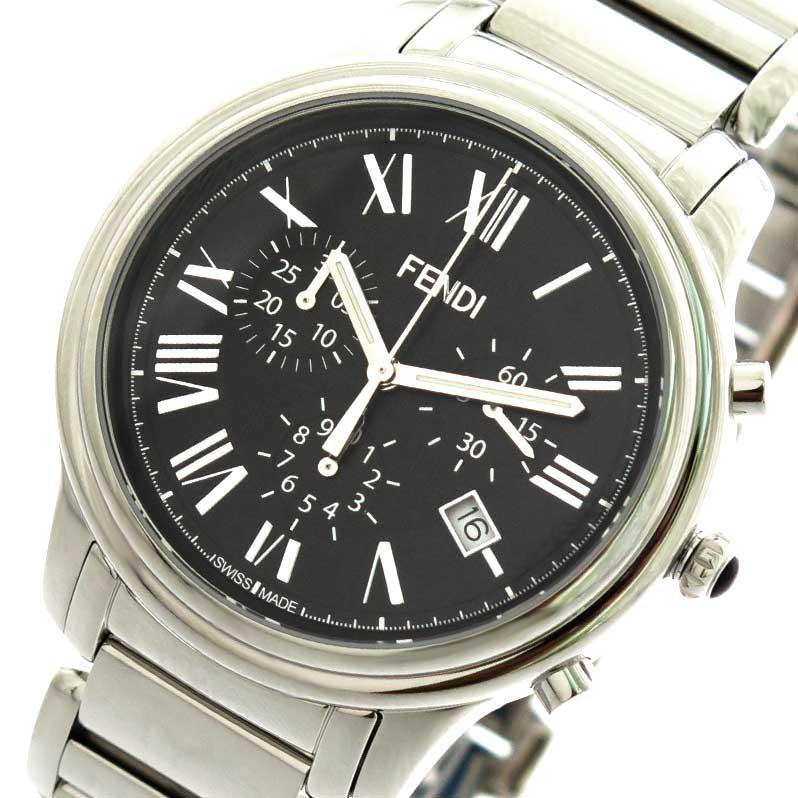 フェンディ FENDI 腕時計 メンズ F252011000 クラシコクロノ クォーツ ブラック シルバー【送料無料】