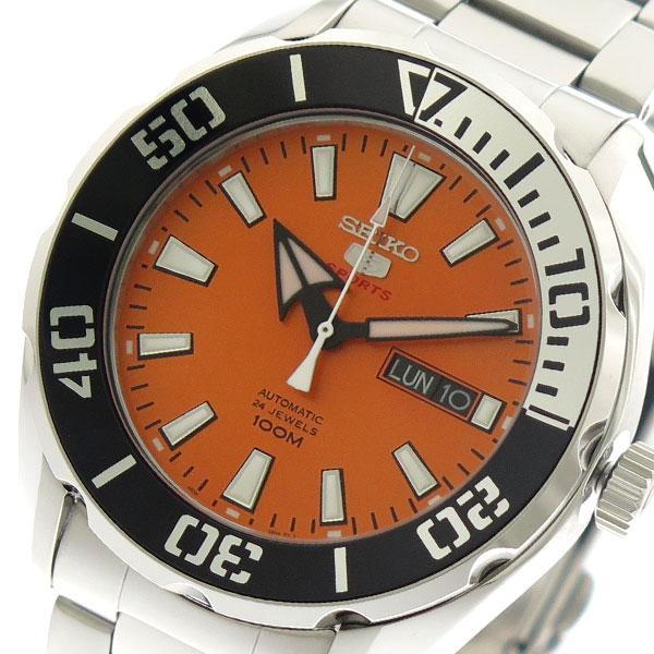 セイコー SEIKO 腕時計 時計 メンズ SRPC55K1 セイコーファイブ スポーツ 自動巻き オレンジ シルバー