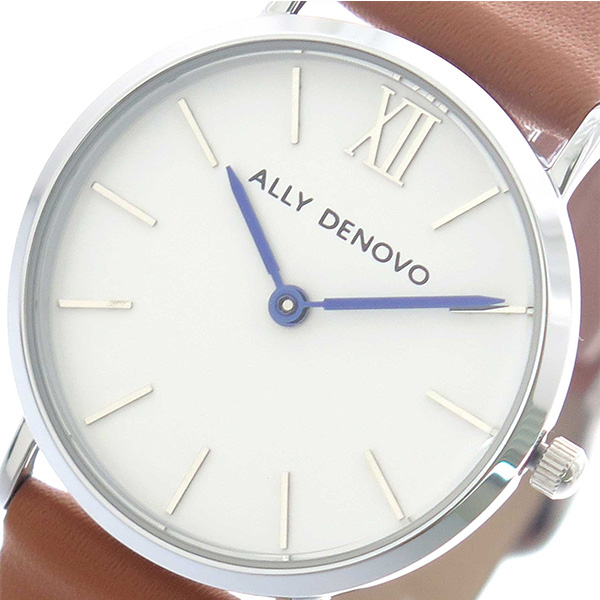 1cb7fc8ccd97 アリーデノヴォ ALLY DENOVO 腕時計 時計 レディース 30mm AS5001-9 MINI NEW VINTAGE クォーツ ホワイト  キャメル【ポイント10倍】【_包装】 【ラッピング無料】