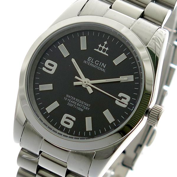 エルジン ELGIN 腕時計 時計 メンズ FK1421S-B 10YEARS クォーツ ブラック シルバー