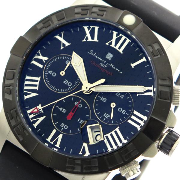 サルバトーレマーラ SALVATORE MARRA 腕時計 時計 メンズ SM18118-SSBK クォーツ ネイビー ブラック