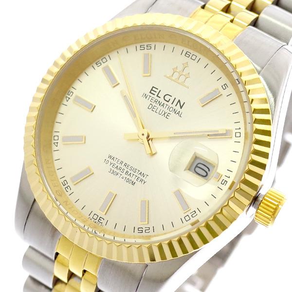 エルジン ELGIN 腕時計 メンズ FK1422TG-G クォーツ ゴールド シルバー ゴールド