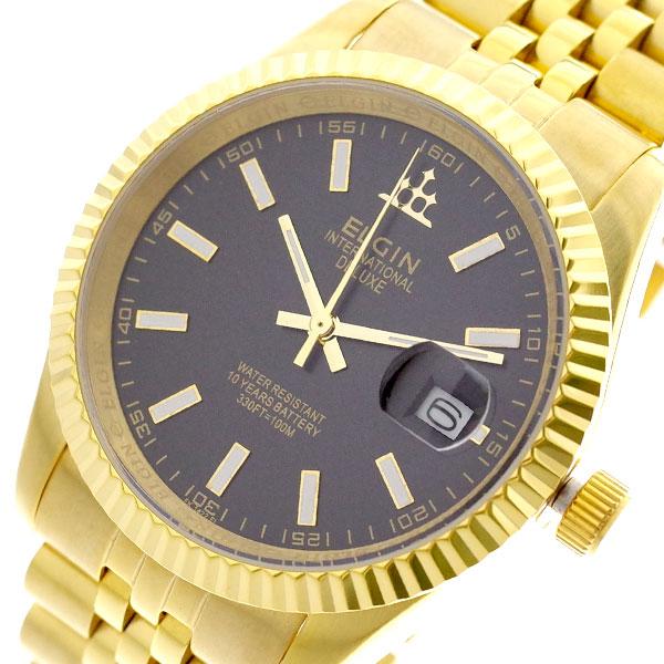 エルジン ELGIN 腕時計 メンズ FK1422G-B クォーツ ブラック ゴールド ゴールド