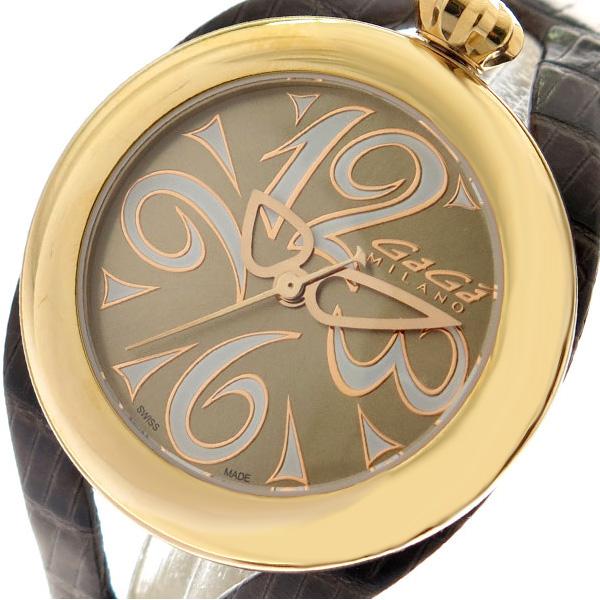 ガガミラノ GAGA MILANO 腕時計 メンズ レディース 6071.02 クォーツ ゴールド ダークブラウン ゴールド【送料無料】