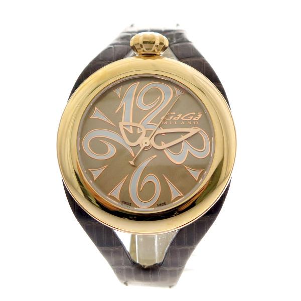 ガガミラノ GAGA MILANO 腕時計 メンズ レディース 6071.02 クォーツ ゴールド ダークブラウン ゴールド【ポイント10倍】