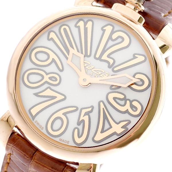 ガガミラノ GAGA MILANO 腕時計 レディース 6021.01LT マヌアーレ 35MM クォーツ ホワイト ブラウン ホワイト【送料無料】