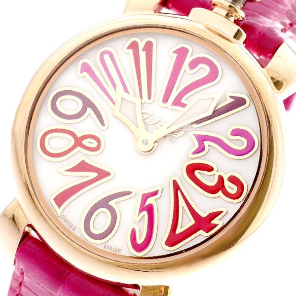ガガミラノ GAGA MILANO 腕時計 レディース 6021.03LT マヌアーレ 35MM クォーツ ホワイト ピンク ホワイト【送料無料】